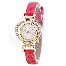 Lady  Leather Wrist Watch Fulaida Women Ladies Casual Love Heart Leather Strap Quartz Wrist Watch RD-Red