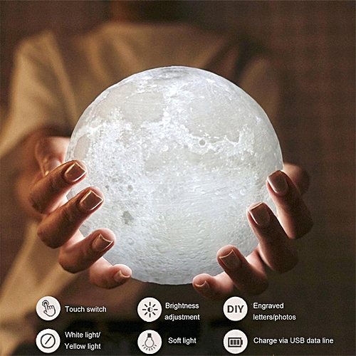 Led Moon Lamp 2 Color Change Touch Switch Rechargeable Room Night Light