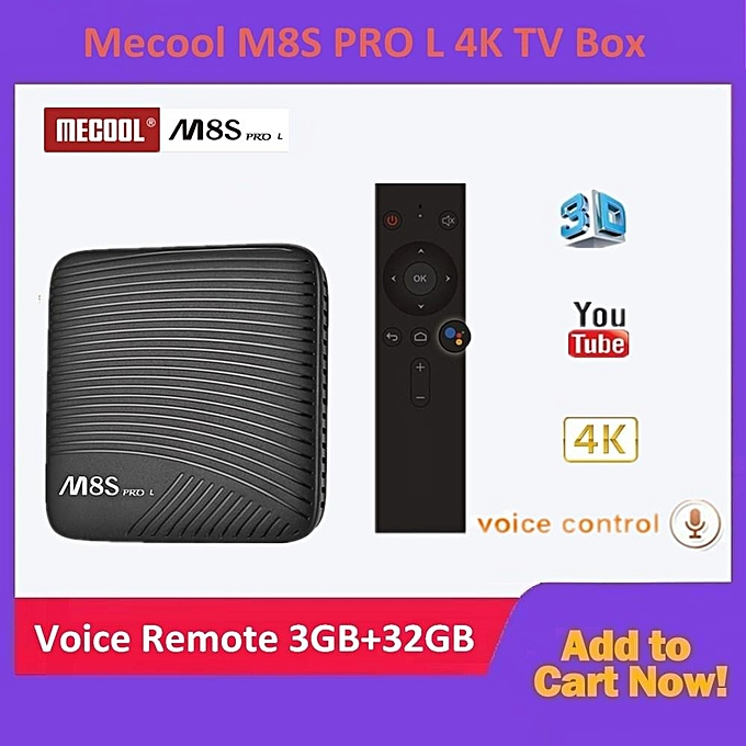 Mecool M8S PRO L 4K TV Box Amlogic S912 Cortex - A53 CPU Bluetooth 4 1 + HS  3GB RAM + 16GB/32GB ROM Voice Remote Control Mode Avaliable (Voice Remote