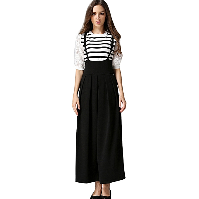 1cfa9e5eb jiuhap store Women Casual Pleated High Waisted Wide Leg Palazzo Pants  Suspenders Trousers -Black ...