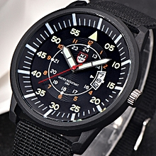 Military Mens Quartz Army Watch Black Dial Date Luxury Sport Wrist Watch - Black
