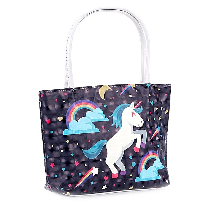 Cute Rainbow Horse Printed Women Waterproof Pu Single Shoulder Bag Handbags Flying Cyan