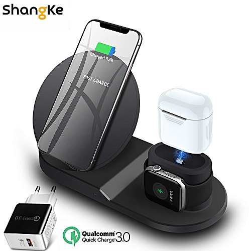 purchase cheap 861e4 fd40a Wireless Charger Stand for iPhone AirPods Apple Watch, Charge Dock Station  Charger for Apple Watch Series 4/3/2/1 iPhone X 8 XS