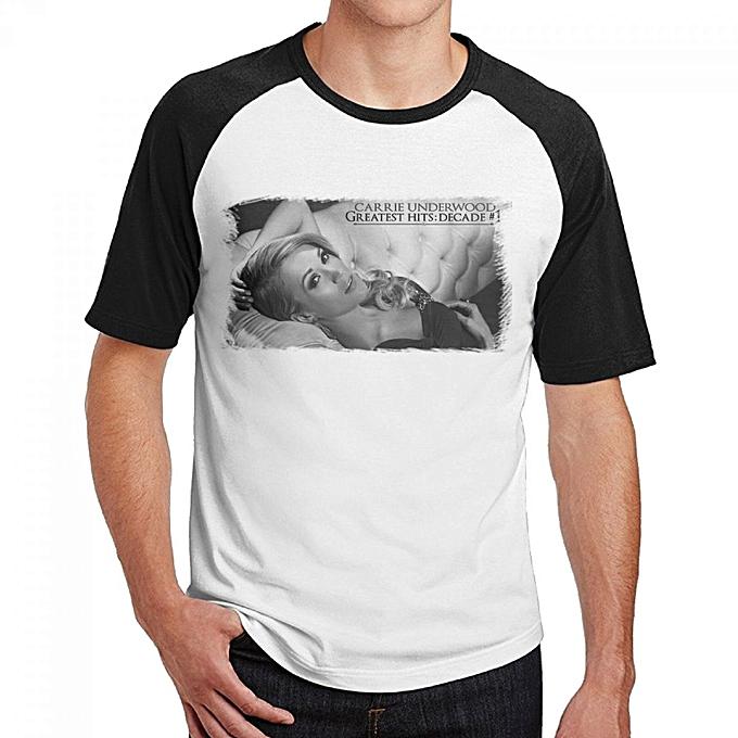 d6d017715556 Carrie Underwood Greatest Hits Decade Men's Cotton Short Baseball Raglan  Sleeves T-Shirt Black