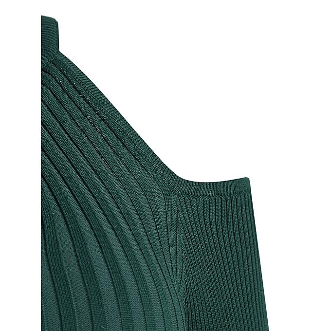 fac5b87b25b ... Women S Stand Collar Dew Shoulder Long Sleeved Bodycon Dress - Deep  Green ...