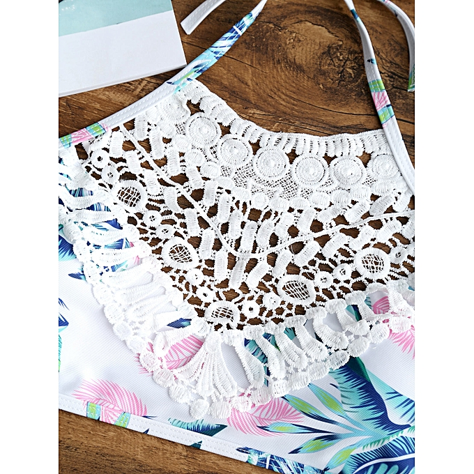 ea325ce83f476 Fashion Lace Appliques Leaves Print Bikini Set - COLORMIX @ Best ...