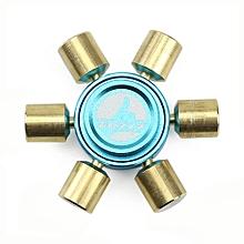 Brass Hexagonal Fidget Hand Spinner Fingers Gyro Reduce Stress Focus Attention - Blue and Gold