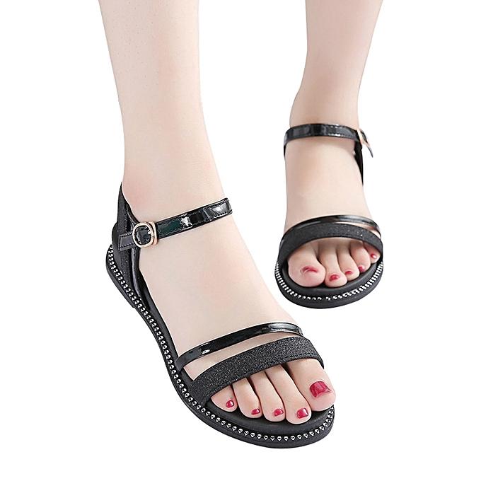 9ecba834659e ... Fashion Women Sequins Flat Heel Anti Skidding Beach Shoes Sandals  Slipper ...