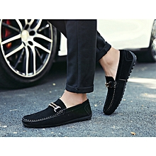 Men Casual Suede Loafers 2017 Black Solid Leather Driving Moccasins Gommino Slip on Men Formal Loafers Shoes Male Dress Loafers-black
