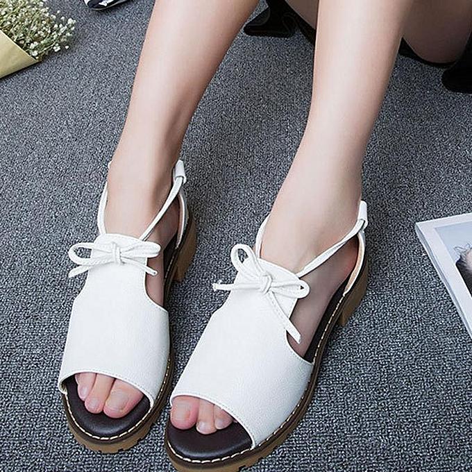 d5b23caf7a43 Fashion Women PU Leather Peep Toe Lace Up Lady Chunky Low Heel Sandals-EU