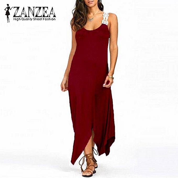 3721374ff1c1 ZANZEA Women Summer Beach Evening Party Sundress Croceht Long Maxi Dress  Plus (Wine Red)