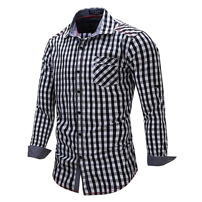 98f5b60f9 New 2018 Men Casual Dress Shirt Long Sleeve Patchwork Plaid 100% Cotton Male  Business Social