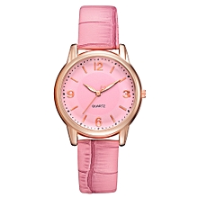 Watch Women Fashion Luxury Leisure Set Auger Leather Stainless Steel Quartz Watch -Pink