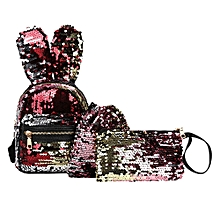 Hiamok 3Pcs Fashion Student Children Sequins Backpacks+Drawstring Bag+Messenger Bag