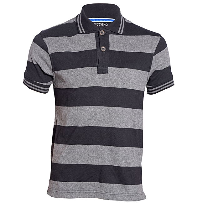 850d1a3ab4a Zecchino Black and Grey Striped Mens Pure Cotton Polo T-Shirt   Best ...