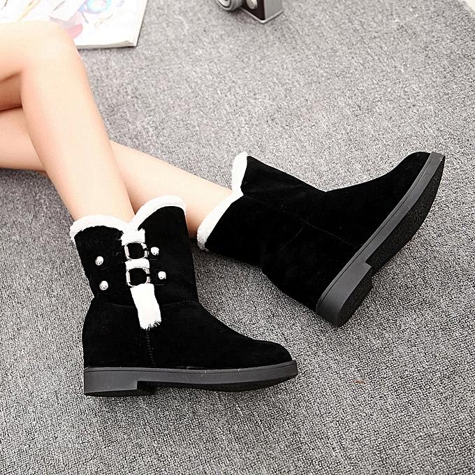 eb00b6bfb Warm Women Snow Boots Platform Ankle Boots Winter Shoes Woman Slip Shoes  BK/35-Black 35