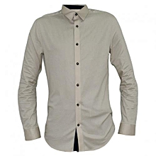 Cream Men's Buttoned Down Long Sleeved  Shirts