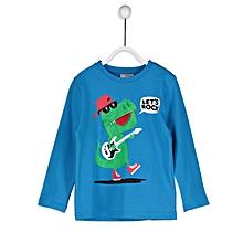 Boy Blue Solid Regular Crew Neck T-Shirt