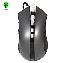 LUOM G60 Professional USB Wired Quick Moving LED Light Gaming Mouse Game Peripherals With Nine Buttons-GRAY