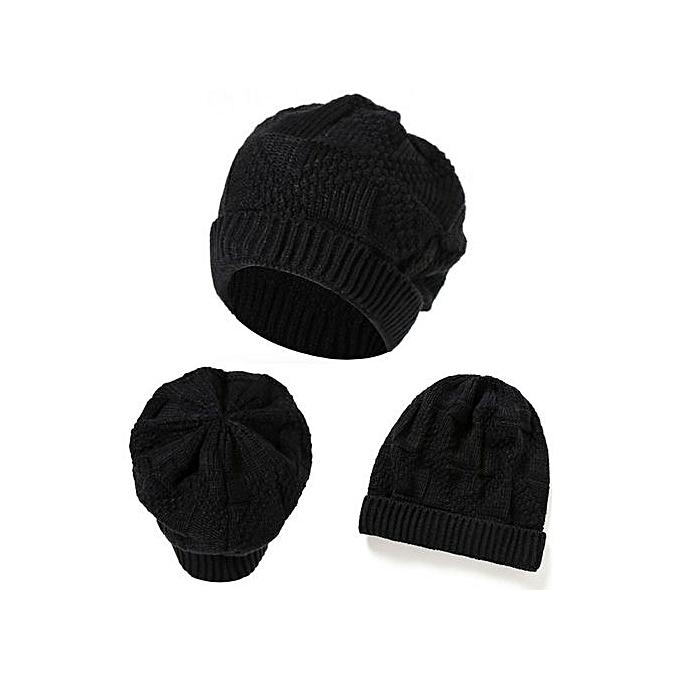 c30f3a9adae8d Fashion Wenrenmok Store Men Women Knit Baggy Beanie Oversize Winter Hat Ski  Slouchy Chic Cap Black-Black