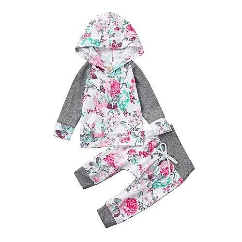 f5f11d96d539 Eissely Newborn Infant Baby Boy Girl Floral Print Hoodie Tops+Pants ...