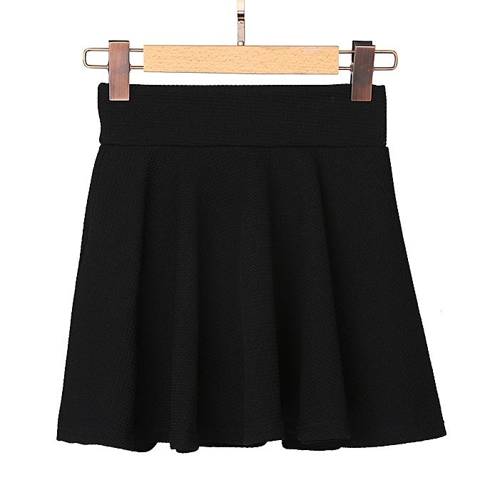 3025847a7 ... Women Lady High Waist Plain Skater Flared Pleated Short Mini Skirt  Shorts Skirts- Black ...