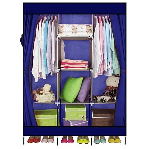 Large Portable Clothes Closet Canvas Wardrobe Storage Organizer With  Shelves US