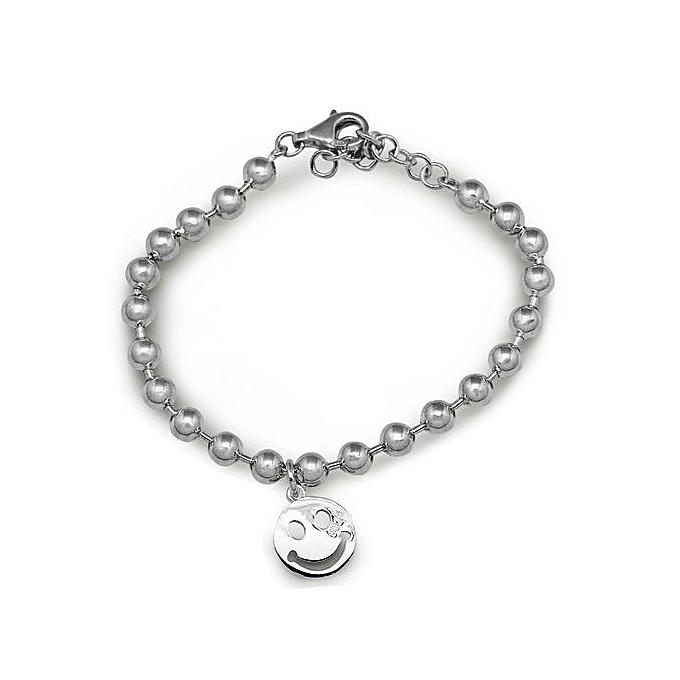 Buy Silverbene Emoji Smile Face Bead 925 Sterling Silver Bracelet