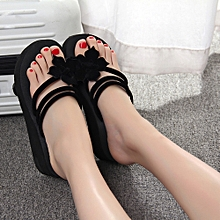 Fohting Women's Leisure Flower Non-slip Platform Shoes Wedges High Heels Slippers -Black