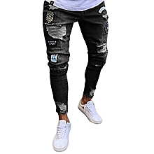 d6a181f544e GraceMen Feet Badge Jeans Men  039 s Trends Knee Hole Zipper Feet Hole Denim