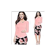 Women Flower Faux Bodycon Dress - Pink
