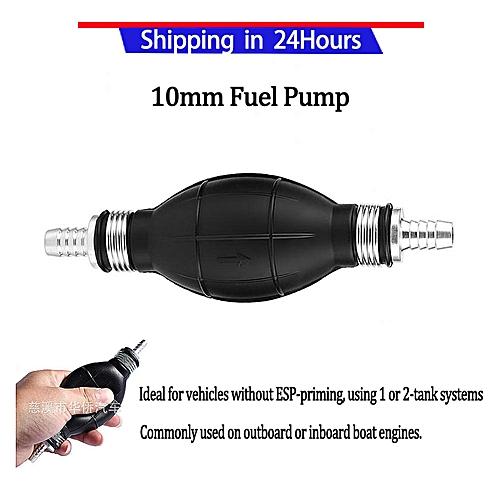 10mm Rubber & Aluminum Fuel Pump Line Hand Primer Bulb Gas Petrol For Car  Boat Marine Outboard