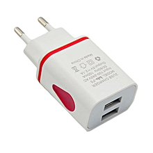 LED USB 2 Port Wall Home Travel AC Charger Adapter For S7 EU Plug RD-Red