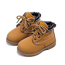 Baby Kids Boy Girl PU Leather Snow Boots Fur Lined Winter Warm Shoes-EU