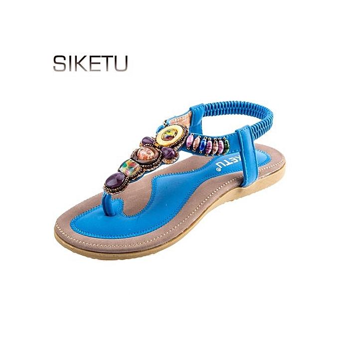 bbf11bff0631 Siketu Women Trendy Bohemia Beads Elastic Beach Sandals - Blue ...