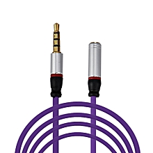 4FT 3.5mm 4-Pole AUX Extension Cable Stereo Audio Headphone Male to Female-Purple