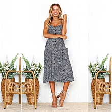 New Summer Women's Floral Print Sleeveless Shoulder-Straps Buttoned Backless Sexy Dress With 20 Colors Optional (Blue Gray)