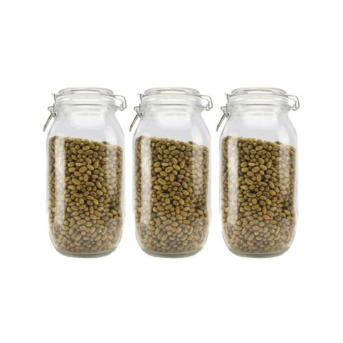 3-Piece 2000ml Airtight Retro Glass Jar with Clip Lid (Clear Glass): Kitchen Preserving Storage Jars