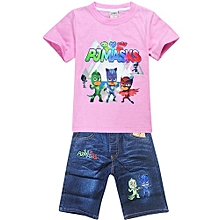 1-8 Yrs Boy Girls' 2 Pieces Cotton Jeans Pant + T-shirts (Color:Pink)