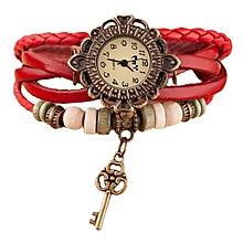 Quartz Weave Around Leather Key Bracelet Lady Woman Wrist Watch