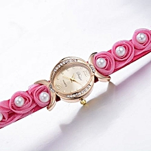 Duoya Women's Wrist Watch  Women Fine Leather Band Winding Analog Quartz Movement Wrist Watch@Hot Pink