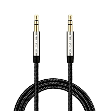 Blitzwolf 3.5mm To 3.5mm Aux Braided 1m Audio Cable for Car iPhone 6 6Plus 5 Samsung (Black)