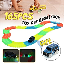 165 PCS Magic Tracks Racetrack Bend Flex Glow LED Light Up In The Dark Toy Car