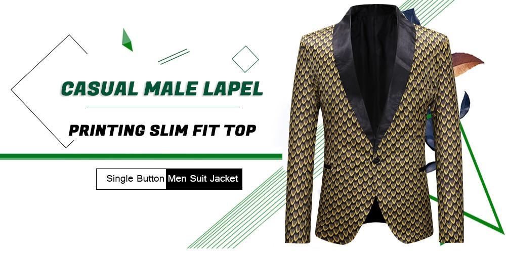 Casual Male Lapel Printing Slim Fit Top Single Button Men Suit Jacket