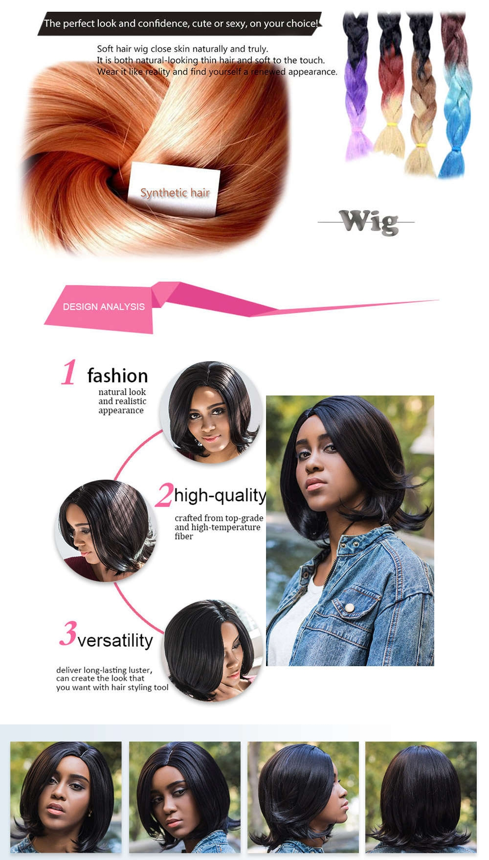 AISIHAIR Charming Straight Medium Synthetic Curly Tail Black Wigs for Women
