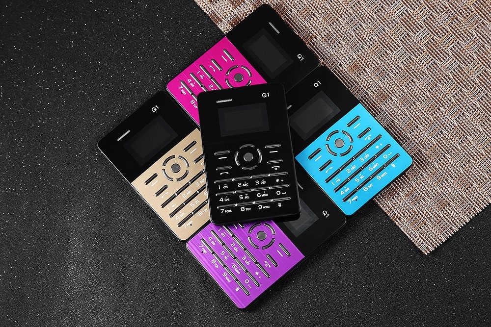 A-I-E-K Q1 1.0 inch Ultra-thin Card Phone FM Audio Player Sound Recorder Calendar Calculator