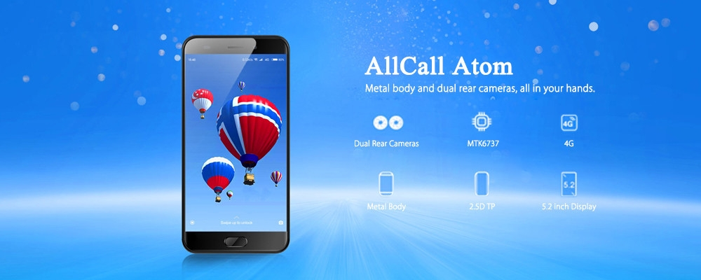 AllCall Atom 4G Smartphone 5.2 inch Android 7.0 MTK6737 Quad Core 1.3GHz 2GB RAM 16GB ROM 2.0MP + 8.0MP Dual Rear Cameras