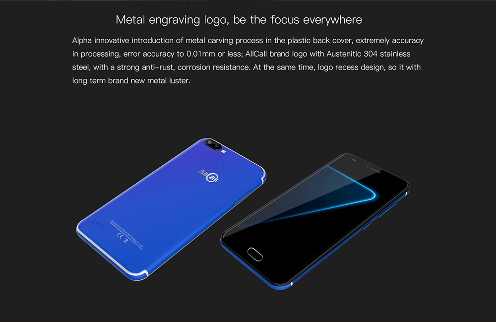 AllCall Alpha 3G Smartphone Android 7.0 5.0 inch MTK6580A 1.3GHz Quad Core 1GB RAM 8GB ROM 8.0MP + 2.0MP Dual Rear Cameras