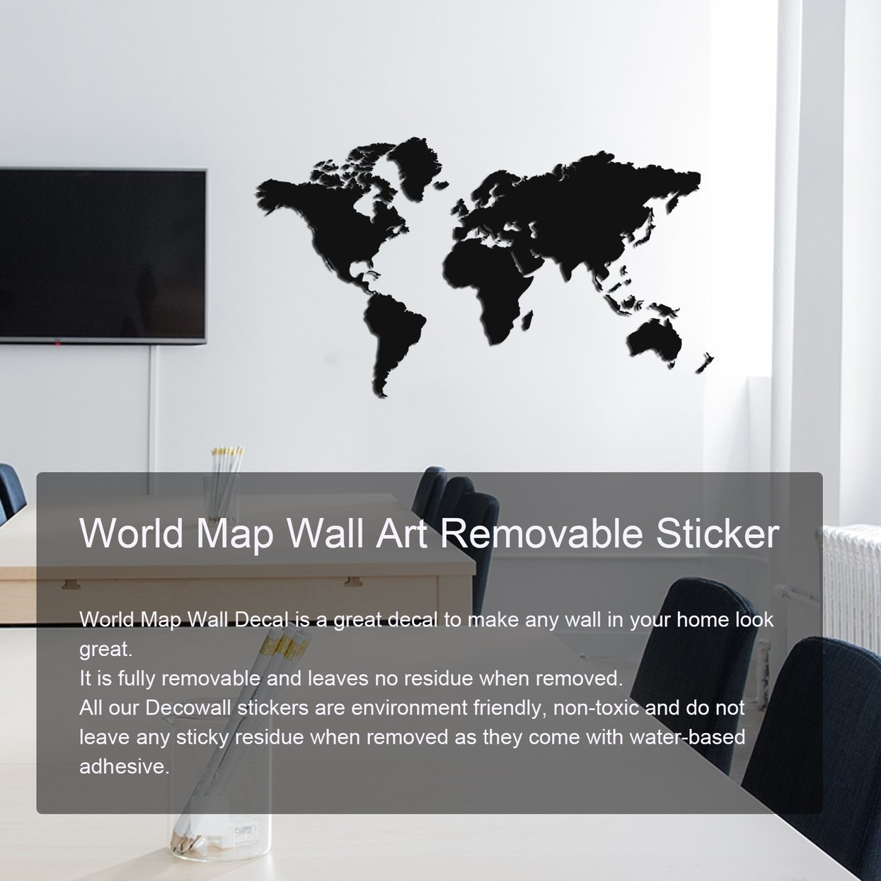 Allwin World Map Wall Art Removable Sticker Easy To Apply Graphic