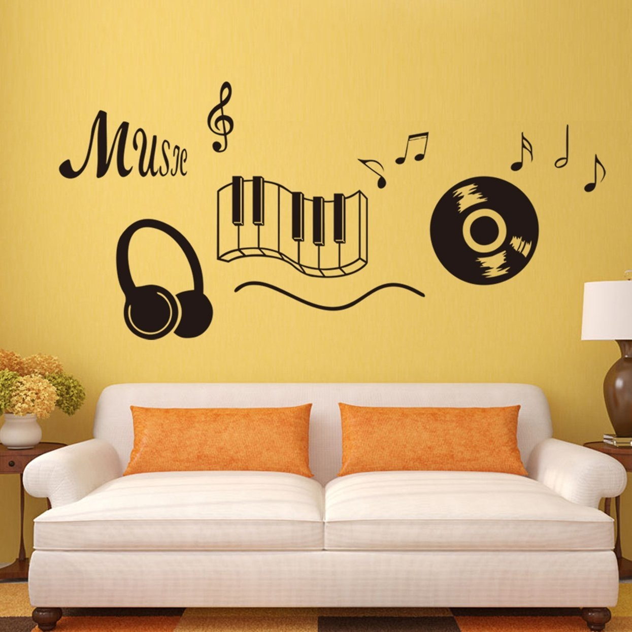 Buy Allwin Large Size Music Note Wall Sticker Removable PVC Art ...